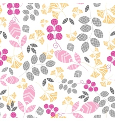 Abstract pink yellow and gray leaves seamless vector image vector image