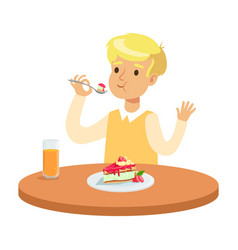 cute blonde boy sitting at the table and eating a vector image