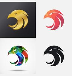 Eagle head icons vector