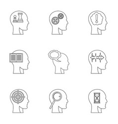 man head with sign icons set outline style vector image