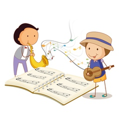 Musicians playing with the musical instruments vector image vector image