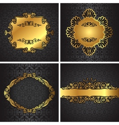 Royal gold Picture frame on the dark wallpaper vector image vector image