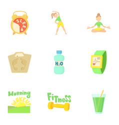 yoga icons set cartoon style vector image