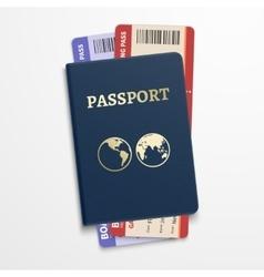 Passport with airline tickets international vector