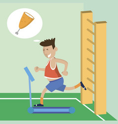 sports and thinks about food vector image