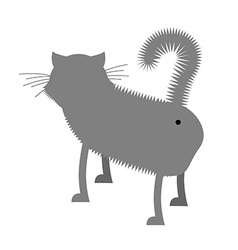 Ass cat Pet stands back funny gray cat with tail vector image
