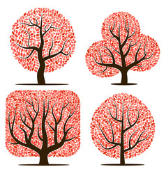 four trees with red leaves vector image