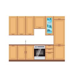 kitchen design interior modern room furniture vector image vector image