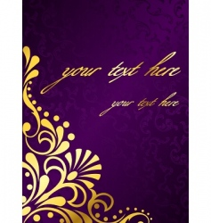 purple background with gold filigree vector image vector image