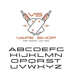 Sanserif wide font and vape shop emblem vector image