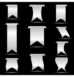 silver hanging curved ribbon banners set eps10 vector image vector image
