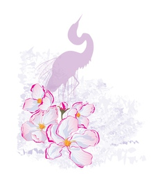 apple flowers and heron vector image