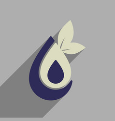 Flat web icon with long shadow eco water vector