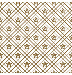 gold and white checkered and stars seamless vector image vector image