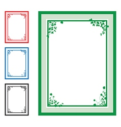 green floral corners background set vector image vector image