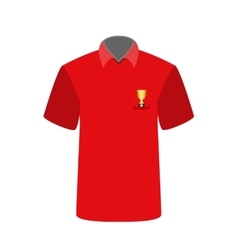Red T-shirt with the image of the cup for first vector image