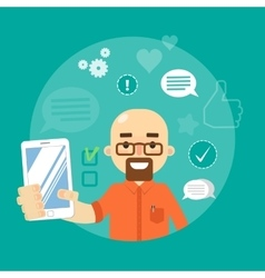 Social media banner Man with smartphone vector image