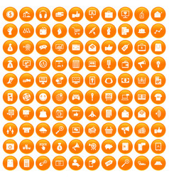 100 digital marketing icons set orange vector