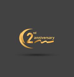 2 years anniversary logotype with double swoosh vector