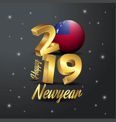 2019 happy new year samoa flag typography vector