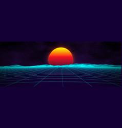 80s background retro landscape futuristic neon vector