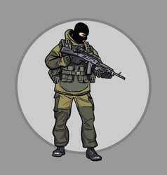 A soldier with a submachine gun warrior special vector