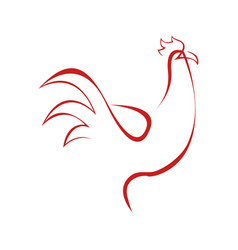 Abstract rooster line art symbol graphic vector