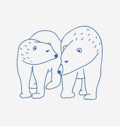 adorable pair polar bears hand drawn vector image