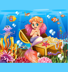 background scene underwater with mermaid and vector image
