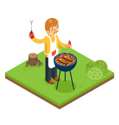 barbecue man cook meat steak nature forest vector image