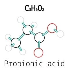 C3H6O2 Propionic acid molecule vector image