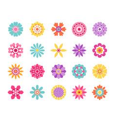 Cartoon flower icons cute summer stickers vector