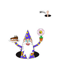 cartoon wizard with cake and flower vector image