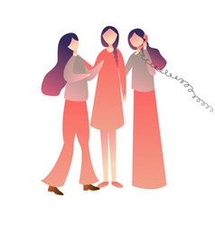 cheerful friends woman girls standing on call vector image
