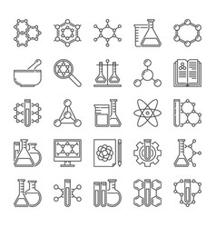 chemistry and science icons in thin line vector image