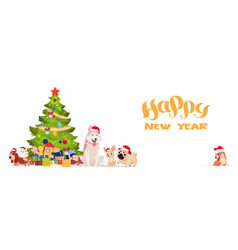 christmas tree and cute dogs in santa hats on vector image