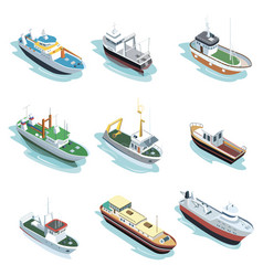 Commercial sea ships isometric 3d elements vector
