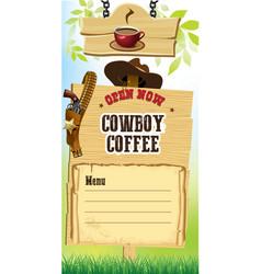 cowboy style coffee shop banner vector image