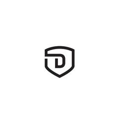 creative d alphabet black shield flat symbol logo vector image