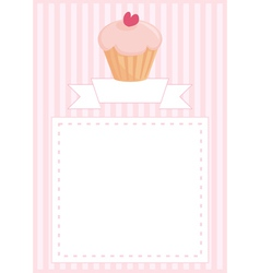 Delicious cupcake card with sweet background vector image