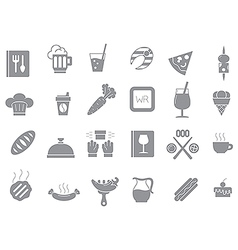 Diner gray icons set vector image
