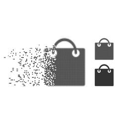 Disintegrating pixel halftone shopping bag icon vector