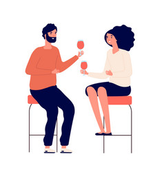 drinking couple man and woman drink wine and make vector image