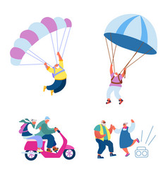 elderly people active lifestyle happy aged vector image
