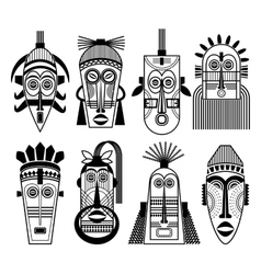 Ethnic masks or tribal mask flat icons vector
