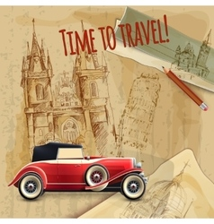 Europe Travel Car Vintage Poster vector image