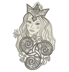 Fabulous viking fairy abstract portrait vector