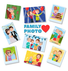 family photos set portraits of family members vector image vector image