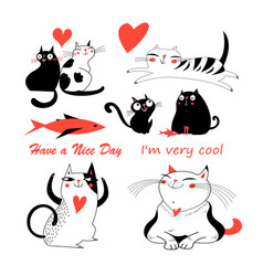 Festive funny set enamored cute cats vector