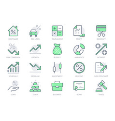 Finance investment simple line icons vector